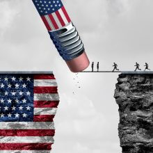 Green card harder: United States border isolationism and protectionism or American immigration refugee crisis as people running to cross a bridge that is being erased by a pencil with a US flag on a cliff as a social issue on refugees or illegal immigrants with 3D illustrat