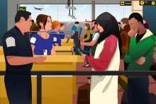 Immigration Service Mistakes can lead to trouble at the airport. A vector illustration of People Being Checked Immigration Line in the Airport