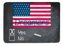 Dreamers US flag with a yes box ticked off. DACA not dead