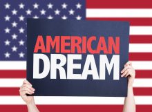 American Dream card with USA background. Prosecutorial discretion no longer works