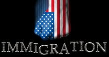 Clenched fist painted in the US flag punchig the word immigration/american immigration policy concept. Immigration Policy hurts business