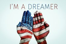 "Two hands with US flag, saying ""Im a dreamer"". DACA not dead"